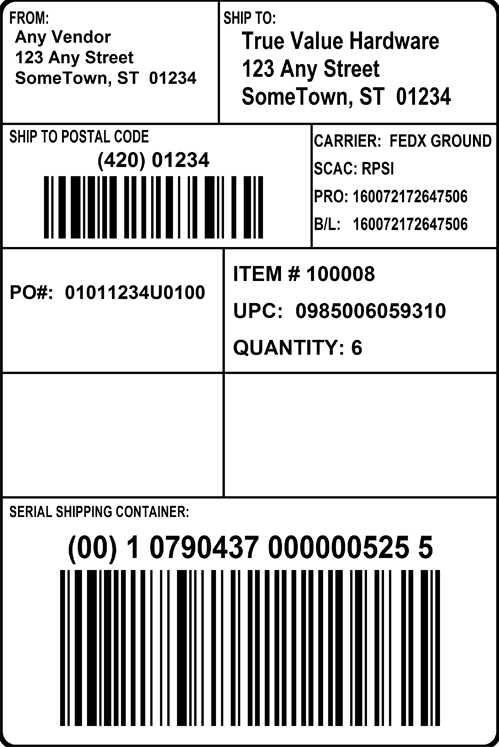 True Value Shipping Label
